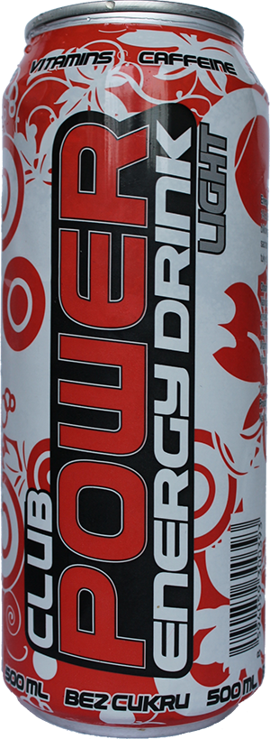 Club power energy drink light a jeho 14 kJ energie